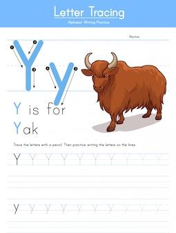 Buchstabe y, der tieralphabet y für yak verfolgt