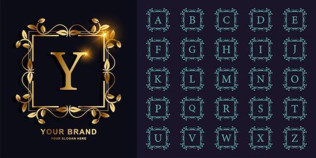 Buchstabe y oder sammlungsinitialalphabet mit goldener logoschablone des blumenrahmens der luxusverzierung.