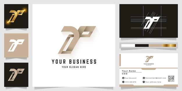 Buchstabe y oder t monogramm-logo mit visitenkarten-design