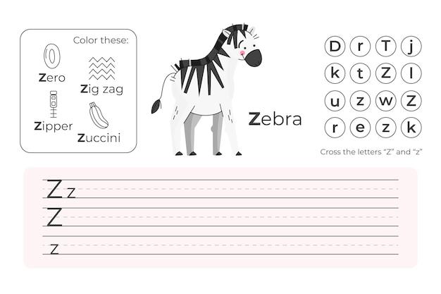 Buchstabe z arbeitsblatt mit zebra