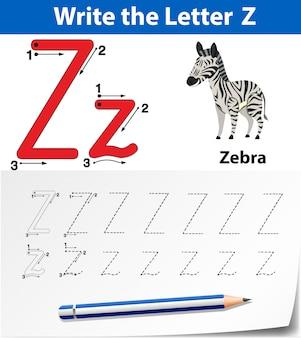 Buchstabe z, der alphabetarbeitsblätter verfolgt