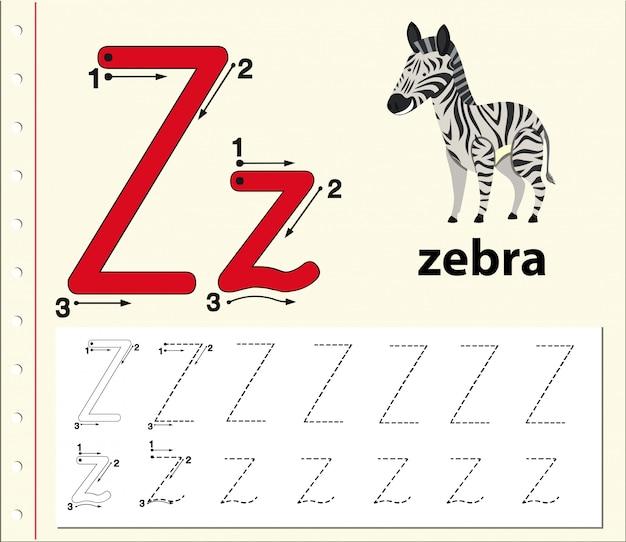 Buchstabe z, der arbeitsblätter für alphabet nachzeichnet