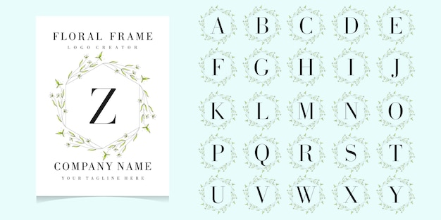 Buchstabe z-logo mit floralen rahmen