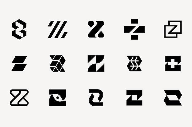 Buchstabe z logo vorlagensatz