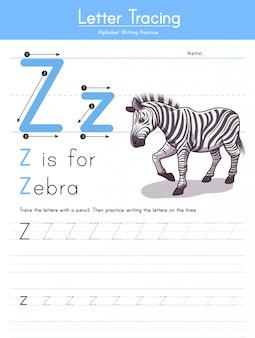 Buchstabe z verfolgung des tieralphabets z für zebra