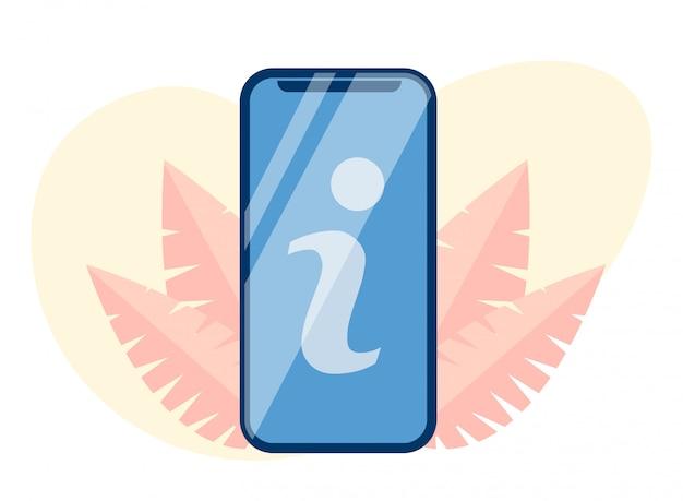 Buchstabe-zeichen i auf mobiler bildschirm ausschnitt flache karikatur