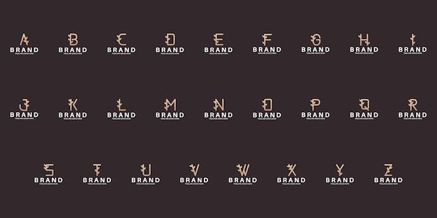 Buchstaben a bis z mit blatt-logo-design setzen