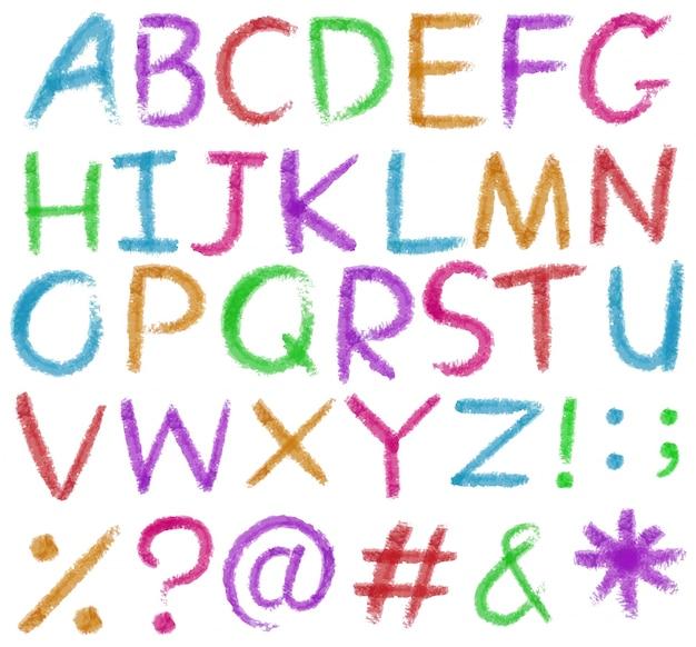 Buchstaben des alphabets in leuchtenden farben