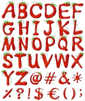 Buchstaben des alphabets mit erdbeerentwurf