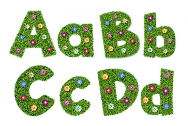 Buchstaben des alphabets mit grasbeschaffenheit und -blumen