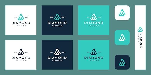 Buchstaben w monogramm logo mit abstrakten rautenformen premium-vektoren
