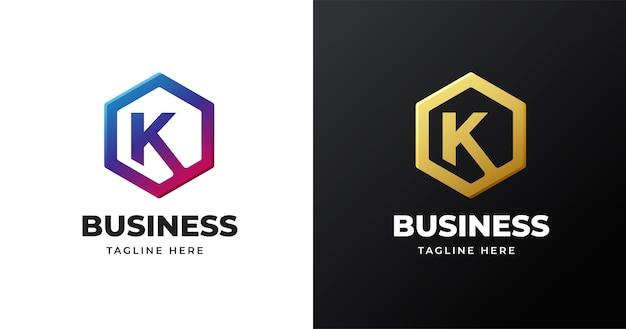 Buchstabenanfangs-k-logoillustration mit geometrischem formdesign