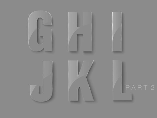 Buchstabensatz aus glas, transparente klassische schriftart.