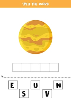 Buchstabiere das wort venus. vektorillustration des planeten venus. rechtschreibspiel für kinder.