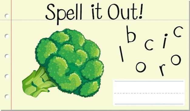Buchstabiere englisches wort brokkoli