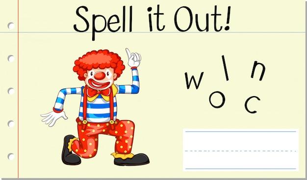 Buchstabiere englisches wort clown