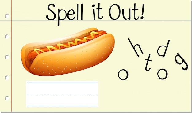 Buchstabiere englisches wort hotdog