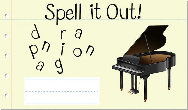 Buchstabiere englisches wort klavier