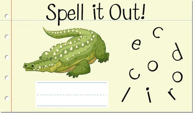 Buchstabiere englisches wort krokodil