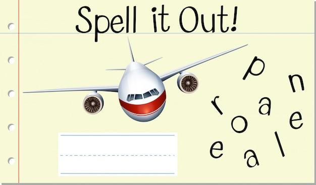 Buchstabieren sie englisches wortflugzeug