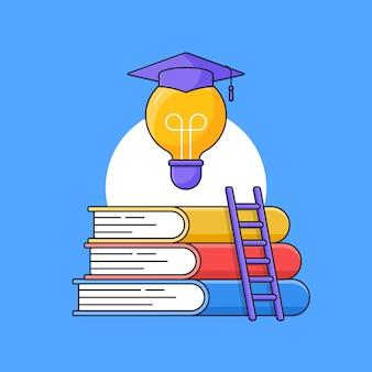 Buchstapel mit leiter und glühbirne mit abschluss-toga-hut oben für erfolgreiche intelligente pädagogische bühnenumrissillustration
