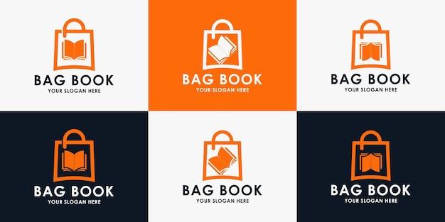 Buchtaschen-logo-design, inspirationslogo für buchhandlung, bibliothek und bildung