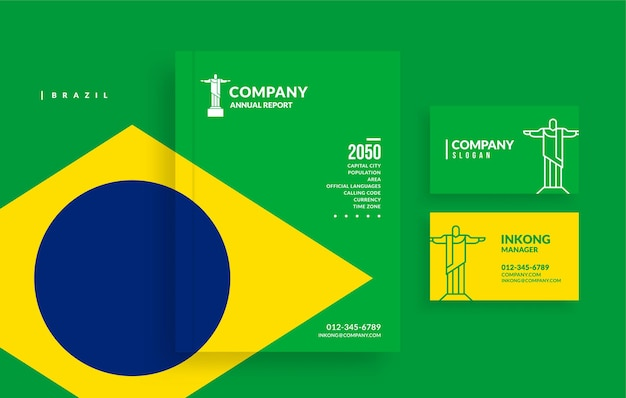 Buchumschlag für den brasilianischen geschäftsbericht und minimales visitenkarten-design