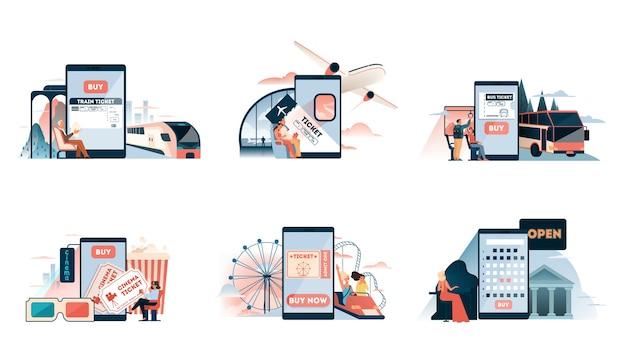Buchung von bus-, flugzeug-, zug-, kino-, theater- oder vergnügungsparkkarten online über das geräteset. flug- und reisekonzept. unterhaltung oder urlaubsplanung. illustration
