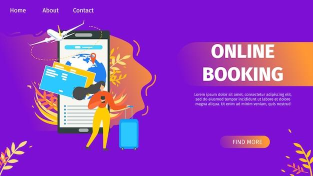 Buchung von flugkarten online flat vector website