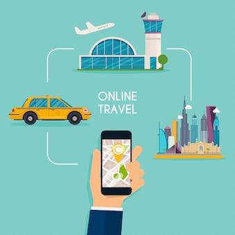 Buchung von online-flügen und taxi-design-webdesign-vorlage.
