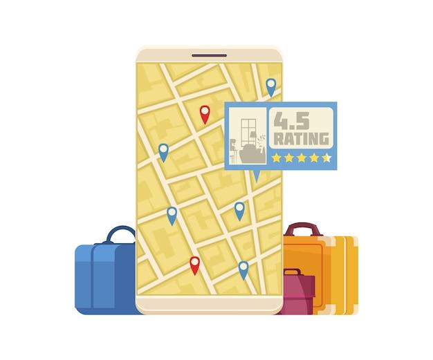 Buchung von online-hotelreservierungskarikatur mit smartphone- und kofferillustration