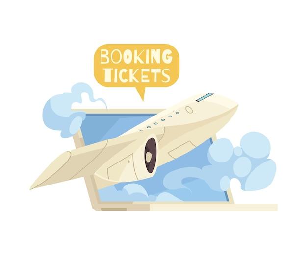 Buchung von tickets online-komposition mit laptop und fliegender flugzeug-cartoon-illustration