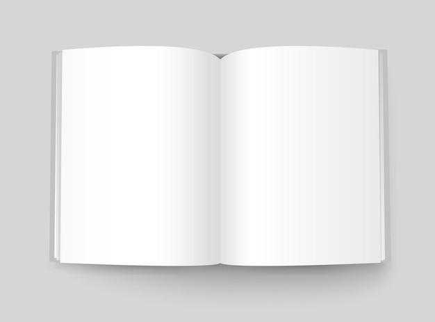 Buchvektormodell im a4-format. offenes buch bereit für einen inhalt