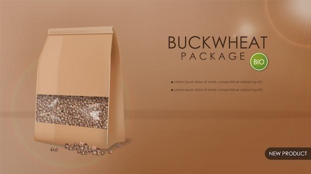 Buchweizenpaket realistisches modell. detaillierte produktplatzierung in 3d. werben sie für etikettendesigns
