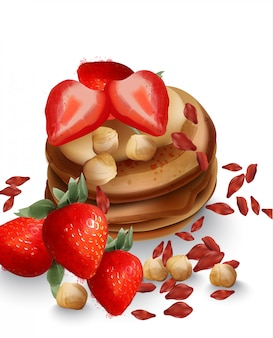 Buchweizenpfannkuchen mit erdbeerfrüchten und nüssen. leckeres gesundes frühstück