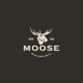 Buck stag deer rentier elk antler head hunting logo-design-vektor