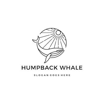 Buckelwal monoline logo design icon illustration