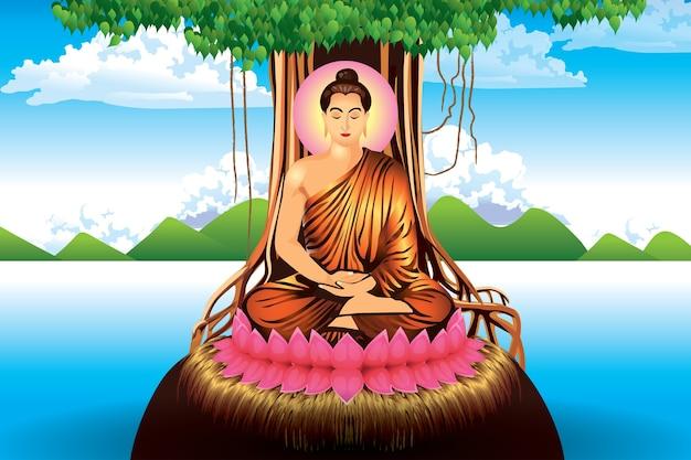 Buddah sitzt unter bodhi baum