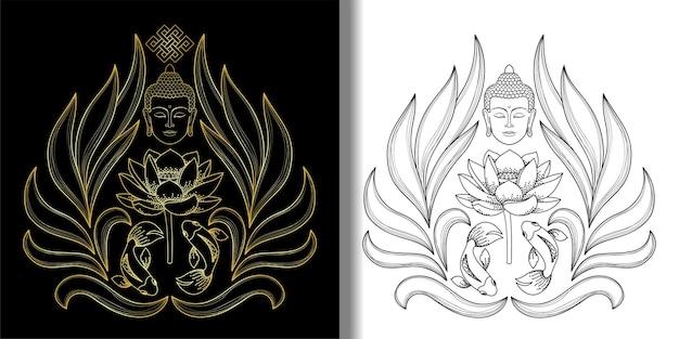 Buddha-kopf mit endlosem knoten lotusfische-druck-set tattoo-textil- und t-shirt-drucke