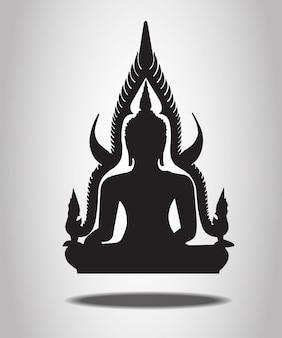 Buddha-schattenbilder auf dem weißen hintergrund