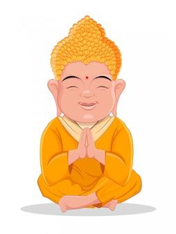Buddha sitzend niedliche zeichentrickfigur