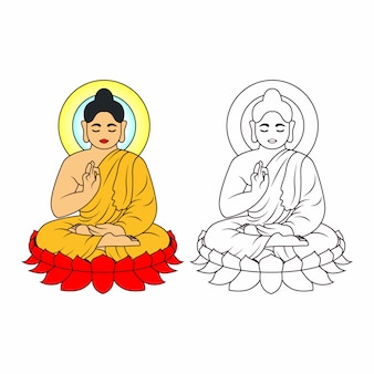 Buddha strichzeichnung. sitzen oder meditieren buddha statue illustration