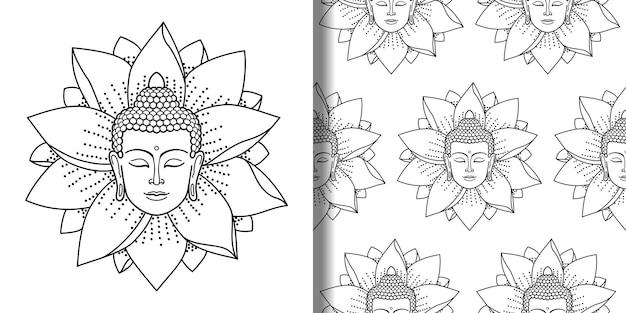 Buddha- und lotus-druck und nahtloses musterset religion textil- und t-shirt-drucke