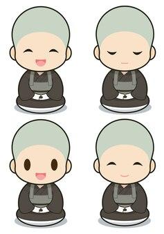 Buddhistische mönchskarikatur