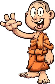 Buddhistischer mönch der glücklichen kinderkarikatur, der winkt. illustration