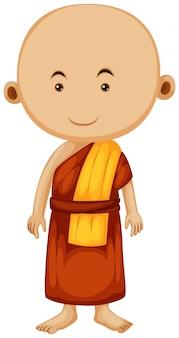 Buddhistischer mönch mit glücklichem gesicht