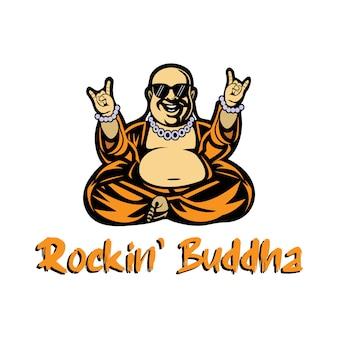 Buddhistisches maskottchen mit einem fluss von rockmusik