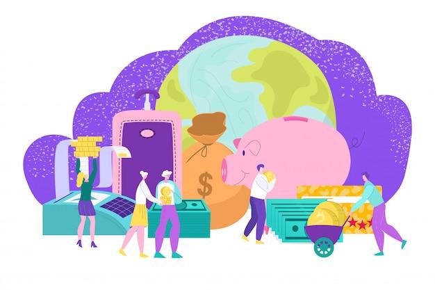 Budgetfinanzierung für reisen, personenökonomie zu urlaub freizeitillustration. geld für sommertouristen und traumferien. münze im sparschwein für erfolg erholung, tourismuskonzept.