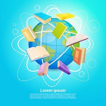 Bücher-bibliothek las schulbildungs-globales wissens-konzept