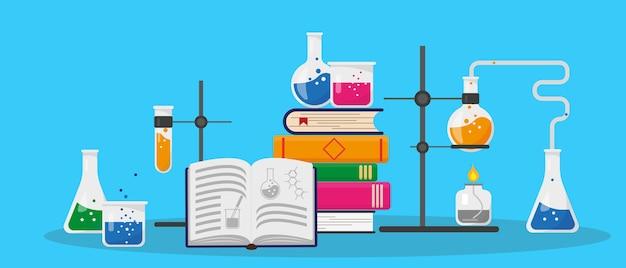 Bücher, chemisches forschungslabor und wissenschaftliche ausrüstung. bildungs- und chemiekonzept. illustration.